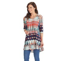 Women's Cold-Shoulder Tunic Top - Colorful Print 3/4 Sleeve Long Fit Blouse