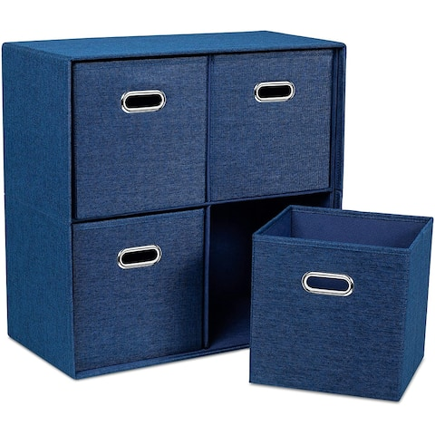 BirdRock Home Navy Linen Cube Organizer Shelf with 4 Storage Bins - Collapsible Bedroom Fabric Shelves and Cubes
