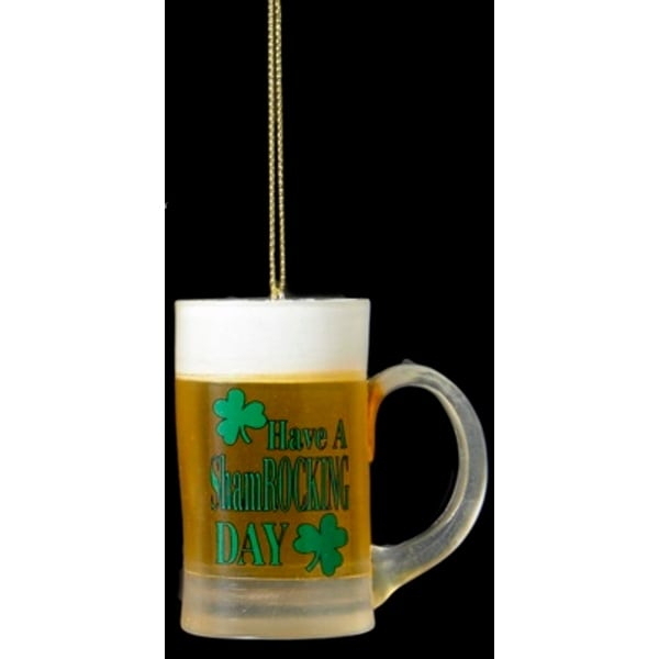 "2.5"" Luck of The Irish ""Have A Shamrocking Day"" Beer Mug Christmas Ornament - YELLOW"