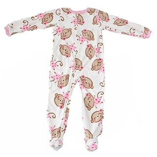 Carter's Little Girls' Monkey Flower Fleece Footed Sleeper-4 Kids - White