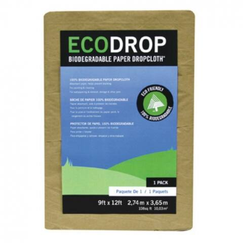 Trimaco 02101 EcoDrop Biodegradable Paper Dropcloth, 9' x 12', Tan