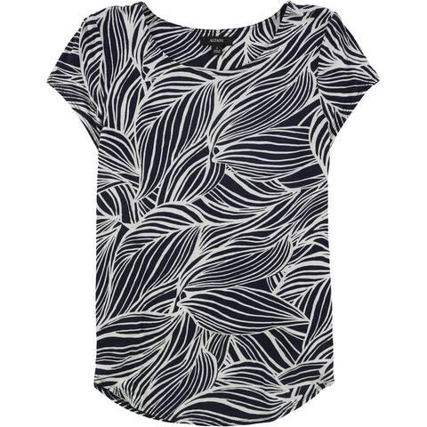 Alfani Womens Two Tone Knit Basic T-Shirt, Blue, Small