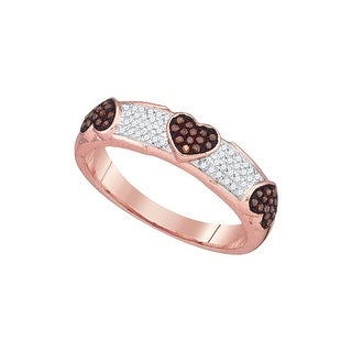 10kt White Gold Womens Round Red Colored Diamond Heart Love Fashion Band Ring 1/5 Cttw