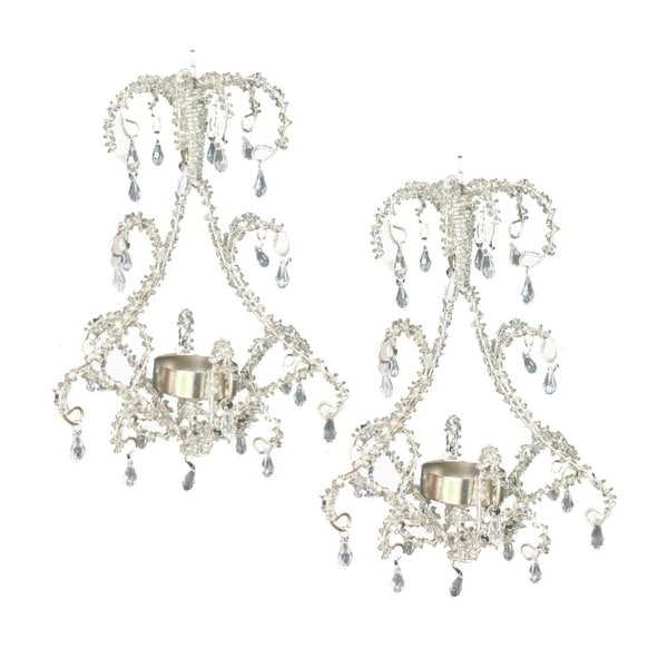 """Set of 2 Clear Beaded Hanging Chandelier Tealight Candle Holder 7.5"""" - WHITE"""