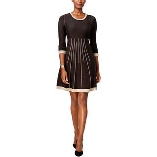 Jessica Howard Womens Petites Sweaterdress Contrast Trim Pattern