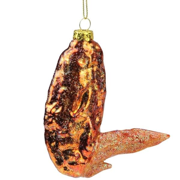 "4.5"" Buffalo Chicken Wing Flat Wingette Glass Christmas Ornament - ORANGE"