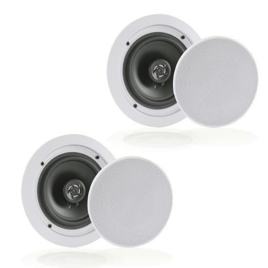 In-Wall / In-Ceiling Speakers, 2-Way Flush Mount Home Speaker Pair, 250 Watt