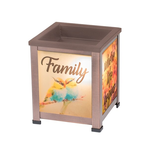 """5"""" Antique Bronze Finish """"Family where life begins"""" Printed Interchangeable Warmer - N/A"""