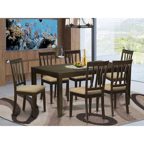 7-piece Dining Room Set - Rectangle Table with Leaf in Cappuccino Finish