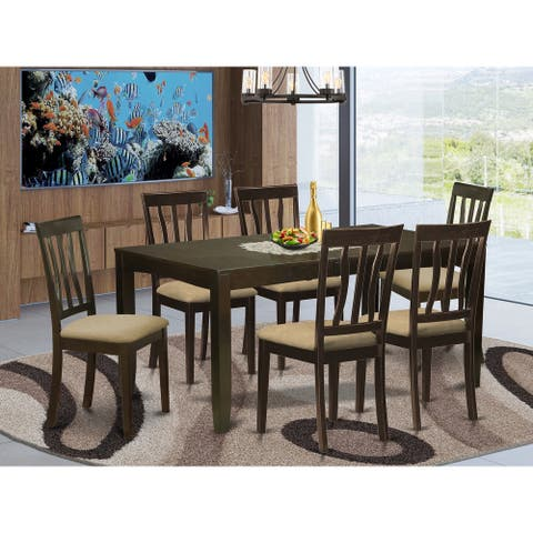 7-piece Dining Set - Rectangle Table with Leaf in Cappuccino Finish