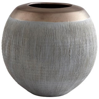 "Cyan Design 09007  Osiris 6-3/4"" Diameter Ceramic Vase - Charcoal / Bronze"