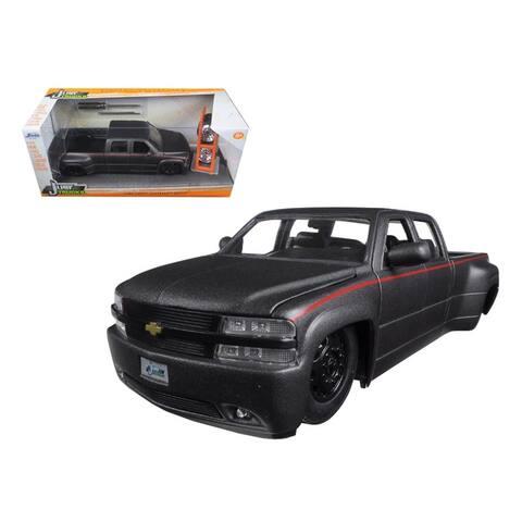 1999 Chevrolet Silverado Dooley Pickup Truck Matt Grey Just Trucks with Extra Wheels 1/24 Diecast Model by Jada