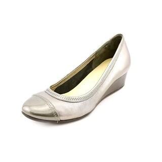 Cole Haan Milly Wedge Women Open Toe Leather Silver Wedge Heel