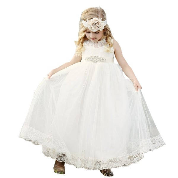 Think Pink Bows Baby Girls Ivory Lace Tulle Alessandra Flower Girl Dress 1Y
