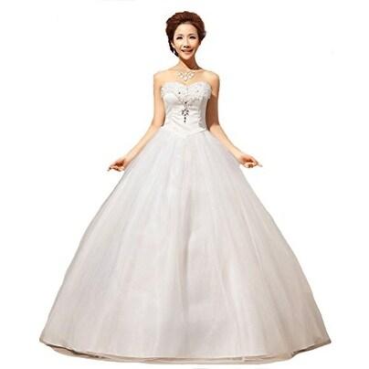 Shop Eyekepper New Strapless Embelished Wedding Dress Bride Wedding ...