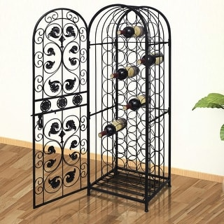 vidaXL Metal Wine Cabinet Rack Stand for 45 Bottles