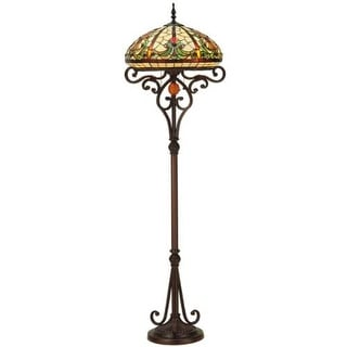 """Meyda Tiffany 124841 Baroque 3 Light 62.5"""" Tall Hand-Crafted Floor Lamp with Stained Glass - mahogany bronze"""