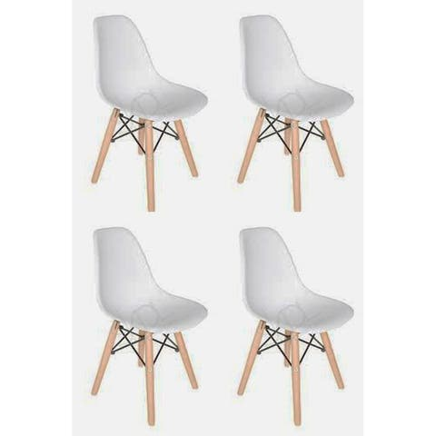 Kids Favourite Eiffel Plastic Dining Chair - Wooden base (set of Four)
