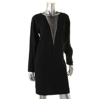 DKNY Womens Long Sleeves Chain Wear to Work Dress