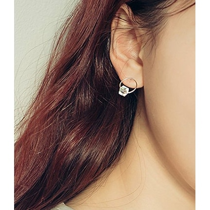 Modern 925 Sterling Silver Round Crystal Earring