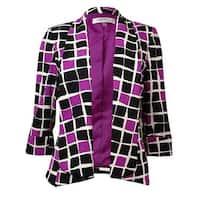 Kasper Women's Geometric Print Shawl Collar Open Front Blazer - orchid multi - 4