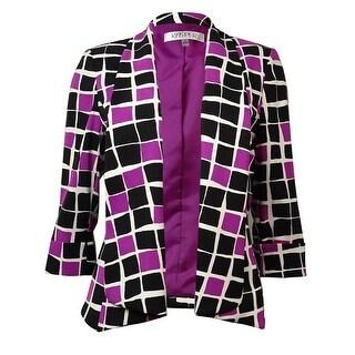 Kasper Women's Geometric Print Shawl Collar Open Front Blazer - orchid multi