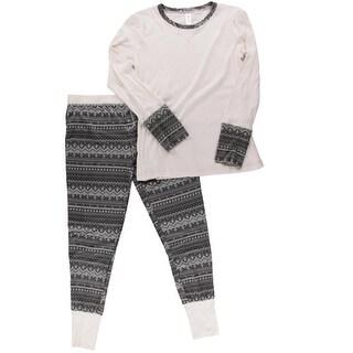 Splendid Womens Ribbed Knit Fair Isle Pajama Set - S