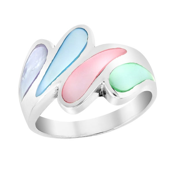 Unique Water Droplets Multicolored Mother of Pearl Wide Sterling Silver Ring (Thailand). Opens flyout.