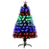 Costway 5Ft Multicolor LED Lights & Stand Pre-Lit Fiber Optic Artificial Christmas