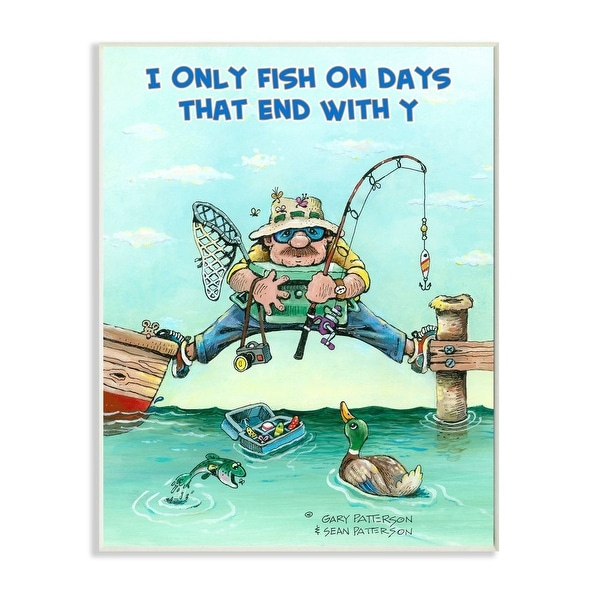 Stupell Industries Days That End With Y Funny Sports Fishing Cartoon Design Wood Wall Art. Opens flyout.