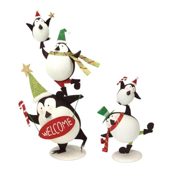 "Pack of 2 Balancing Penguins Christmas Table Top Decorations 22"" - RED"