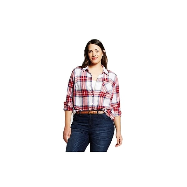 798669ba3ad82d Shop Ava & Viv Women Plus Size Button-Down Long Sleeve Plaid Shirt - Free  Shipping On Orders Over $45 - Overstock - 26894044