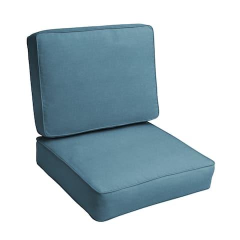 """Sunbrella Denim Blue Indoor/Outdoor Deep Seating Cushion Set, Corded - 23.5"""" x 23"""" x 5"""""""