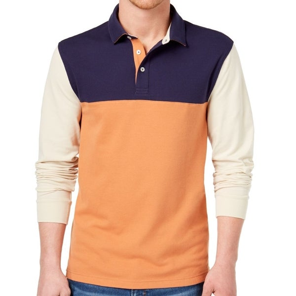 a5666d80e Shop Club Room Orange Men Large Performance Colorblock Polo Shirt - Free  Shipping On Orders Over $45 - Overstock.com - 26928155