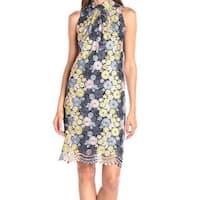 Erin Fetherston NEW Blue Womens Size 2 Floral Mock Neck Sheath Dress