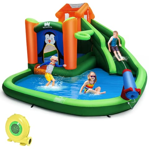 Costway Inflatable Water Park Slide Bouncer w/ Splash Pool Water