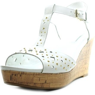 Naturalizer Riley Women Open Toe Leather White Wedge Sandal