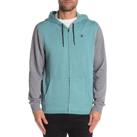 Hurley Branstad Mens Front Zip Colorblock Hooded Jacket Medium Mineral Teal