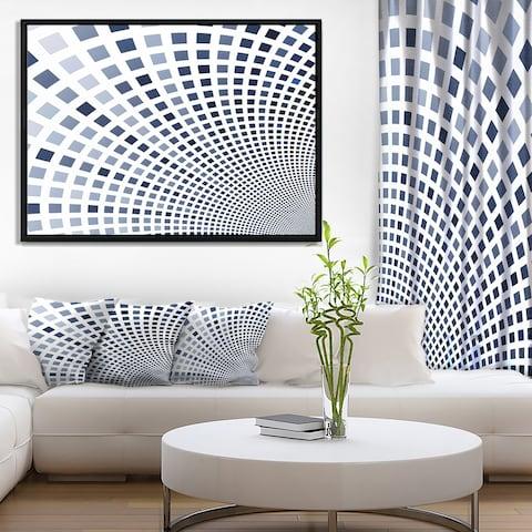 Designart 'Blue Square Pixel Mosaic Illustration' Abstract Wall Art Framed Canvas