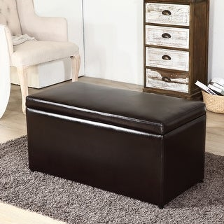 Belleze 3PC Storage Ottoman Bench w/ Cube Footrest Space, Brown