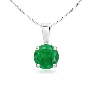 Angara Prong Set Round Emerald Solitaire Pendant