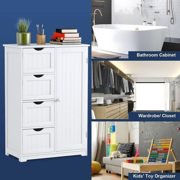 Wooden Bathroom Floor Cabinet Unit Storage with Drawer 2 Door Adjustable Shelves