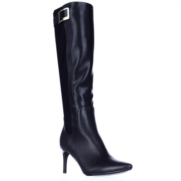 Calvin Klein Jaidia Harness Buckle Knee High Dress Boots, Black
