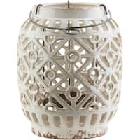White and Medium Gray Geometric Patterned Outdoor Patio Lantern 8""