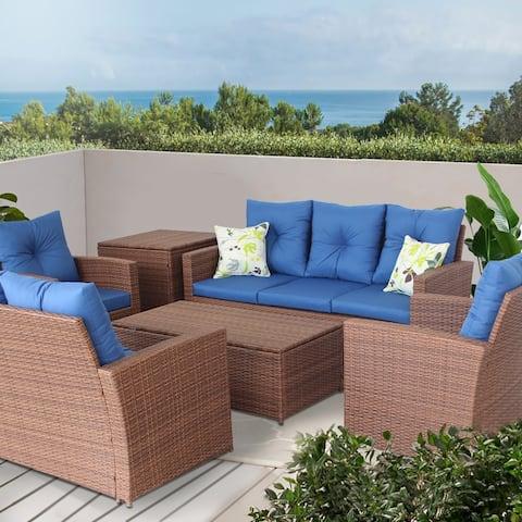 6 Pieces Patio Cushion Wicker Rattan Garden Couch Set