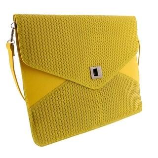 HS1154 GL FULVIA Yellow Leather Clutch/Shoulder Bag