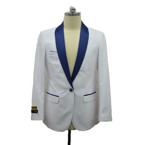 Men's Two Toned White -NavyBlue Tuxedo Dinner Jacket And Blazer By Alberto Nardoni Brand designer