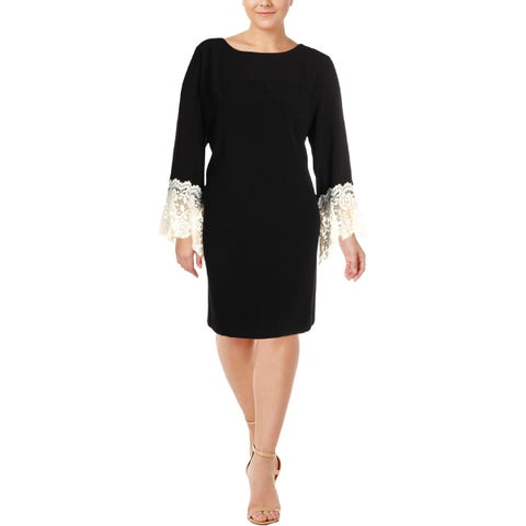 Tahari ASL Womens Party Dress Lace Cuff Above Knee