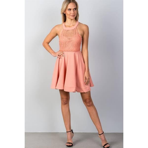 b8b48da50646 Shop Ladies Fashion Blush High Neck Open Back Mini Dress - Size - L ...
