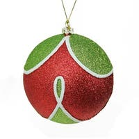 "Merry & Bright Red, Green and White Glitter Shatterproof Christmas Ball Ornament 4"" (100mm) - RED"